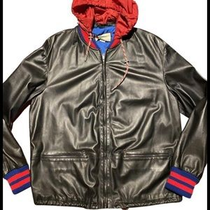 Gucci Leather Bomber Jacket With Removable Hood